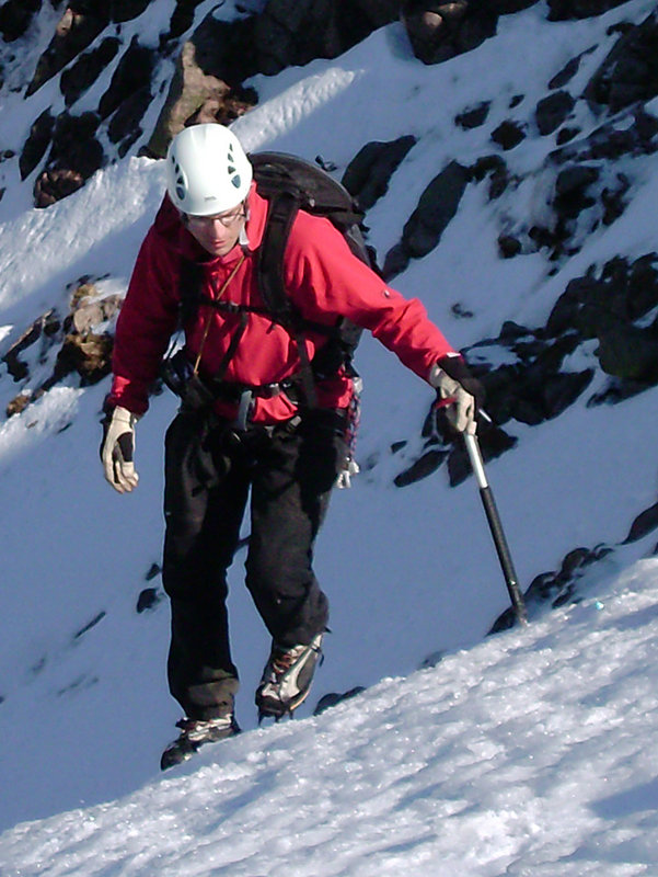 Mike Pescod nearing the top of the Goat Track, 120 kb