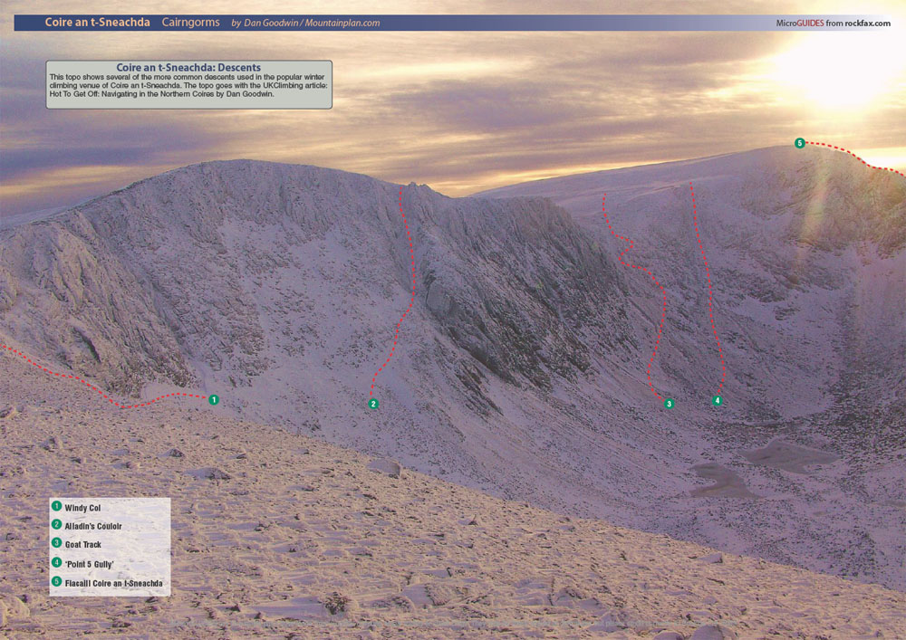 Coire an t Sneachda - These descent routes are detailed in the article., 213 kb