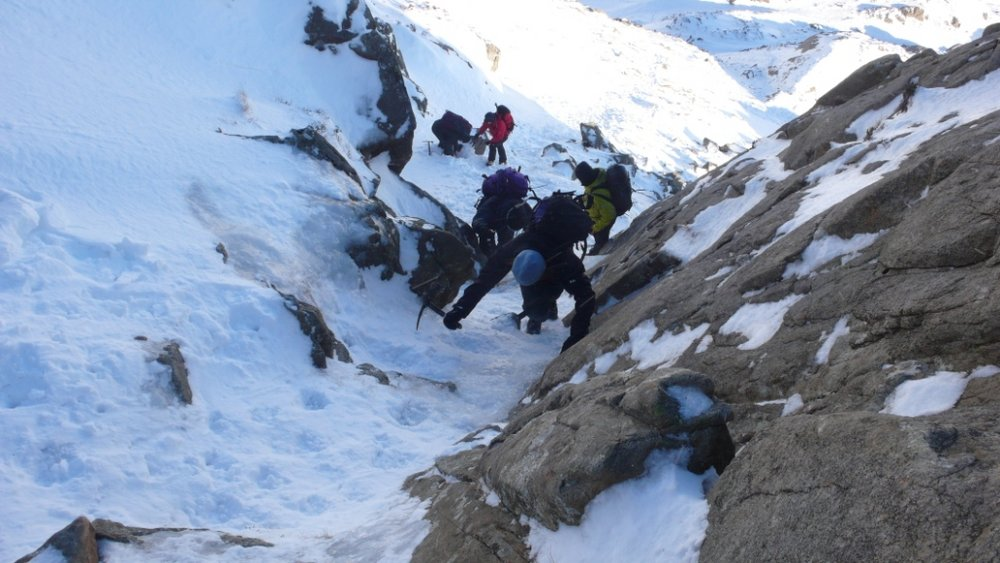 The difficult step on the East Ridge of Pen yr Ole Wen, 107 kb