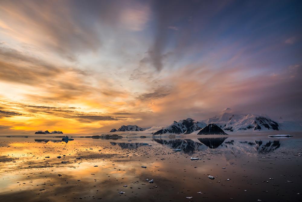 Marguerite Bay and Mount Liotard under the midnight sun, Antarctica, 173 kb