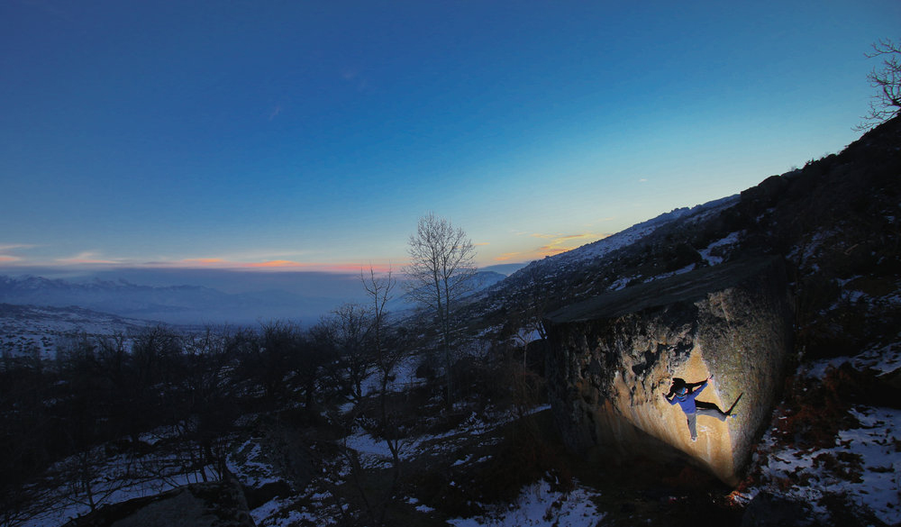 The semi-unknown gems of Prilep, Macedonia showing off. Tom Newberry on a 7A+ arete at Dusk. InstaFollow @el3ctrofuzz., 194 kb