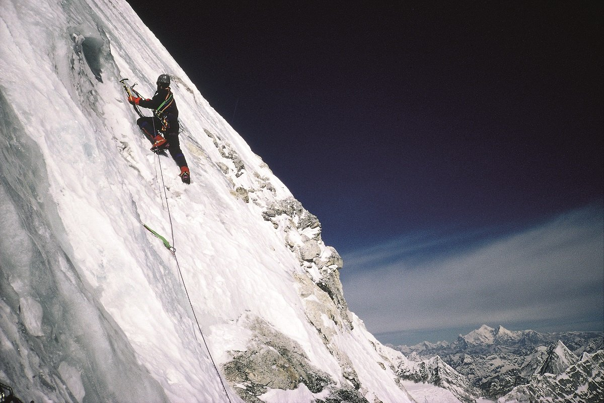 Bjorn Myrer-Lund leading on our summit push. Shishapangma is visible in the distance, 220 kb